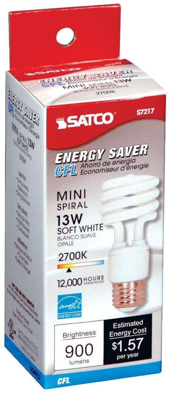 12 Pack Satco S7217 13 Watt T2 Ultra Mini Spiral 2700K Soft White Compact Fluorescent Light Bulb (60 Watt Replacement)