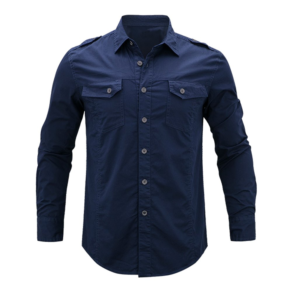 437ad5504d0 OCHENTA Men s Long Sleeve Military Style Cargo Tactical Work Shirt   Amazon.co.uk  Clothing