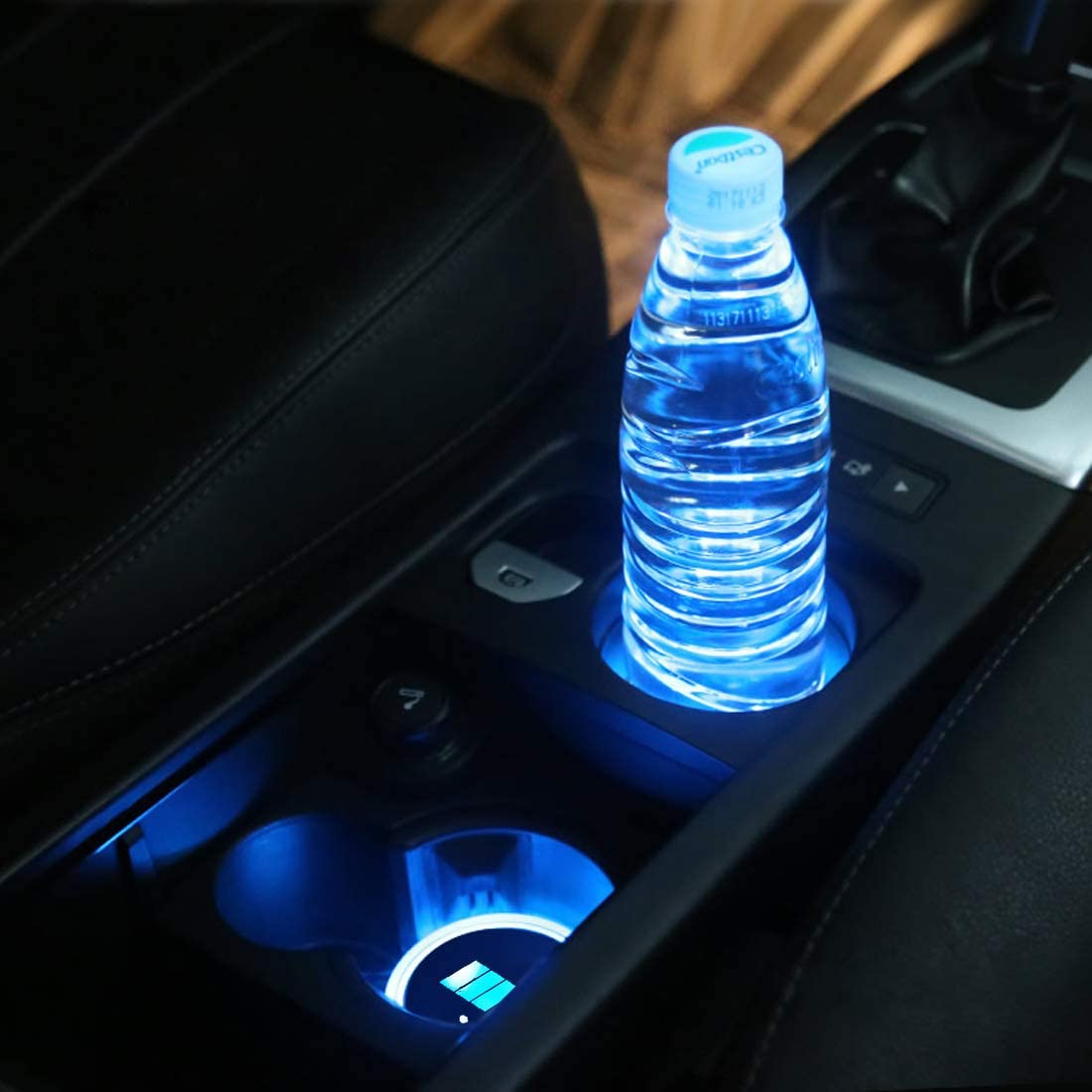 LED Car Logo Cup Holder Pad Bottle Drinks Coaster Waterproof 7 Colors Changing USB Charging Luminescent Mat Decoration Light Interior Atmosphere Lamp 2PCS fit C-adillac