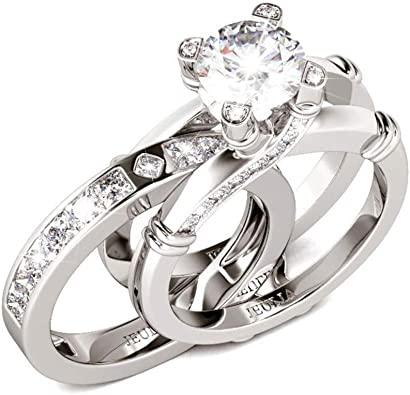 Amazon Com Jeulia Diamond Band Rings For Women Cz Sterling Silver