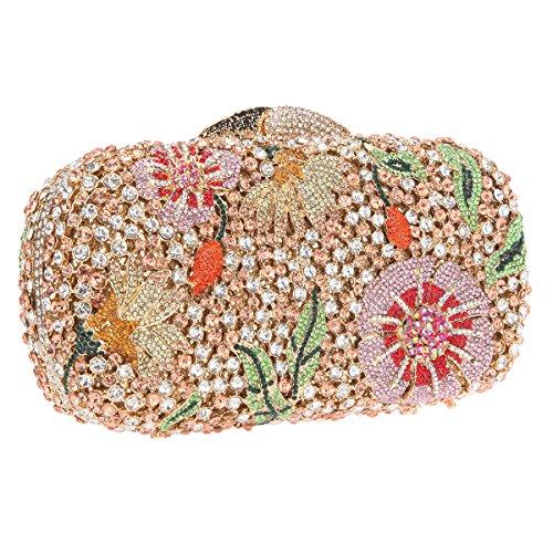 Purse Crystal Evening Cocktail Bags Flower Bling Studded Rose Bonjanvye Gold Clutch q4xtfwBf
