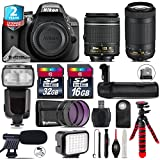 Holiday Saving Bundle for D3300 DSLR Camera + AF-P 70-300mm VR Lens + AF-P 18-55mm + Flash with LCD Display + Battery Grip + Shotgun Microphone + LED Kit + 2yr Warranty - International Version