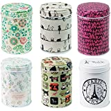 leyoubei Retro double cover Home Kitchen Storage Containers Colorful Tins Round Tea Tins Set of 6