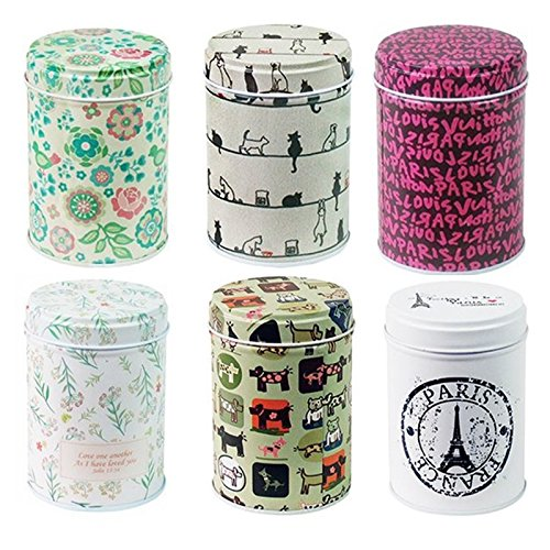 (Leoyoubei 3.55x2.55 inch Tinplate Caddy Box Retro Double Cover Home Kitchen Storage Containers Colorful Tins Round Tea Tins Set of 6)