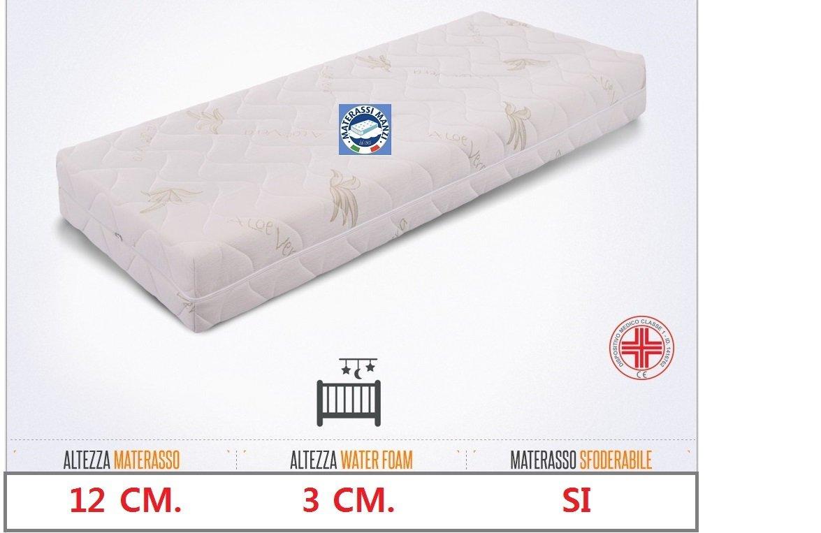 Materasso ideale per culla e lettino mis. 60×125 in Water Foam + Memory Foam 3 cm. antisoffoco, anallergico e con guscio sfoderabile e lavabile in lavatrice 100% Made in Italy ed ortopedico Prezzi offerte