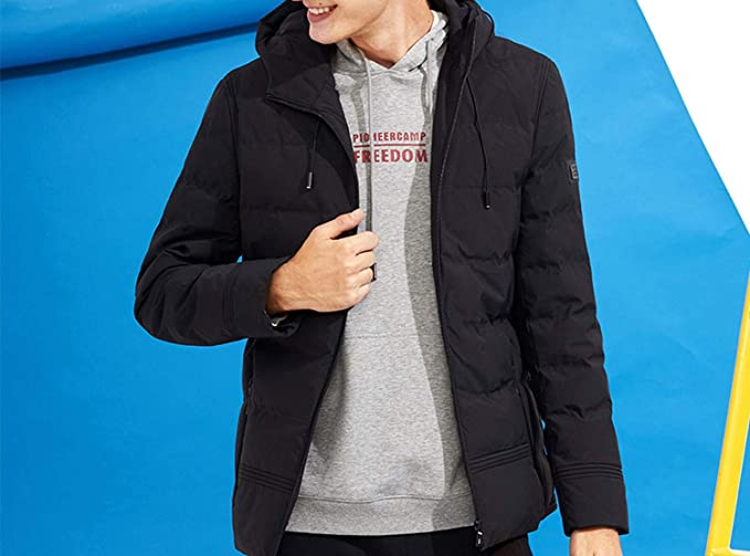 c1ca0826e73 Thick Winter Jacket Men Clothing Hooded Warm Coat Male Black Solid ...
