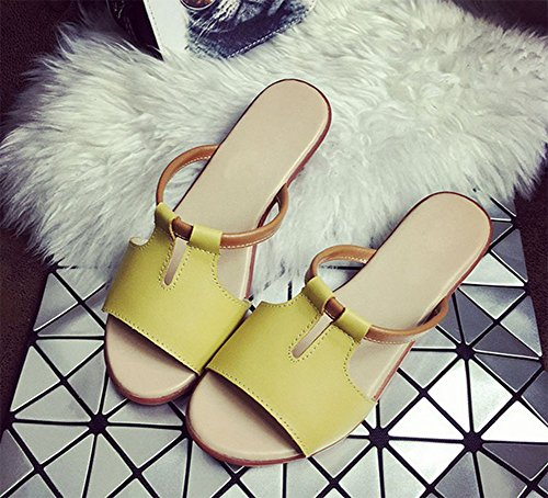 Cool Thick and Slippers Bottom Ladies Summer C Style Flat weiwei One Slippers qZgwIOUC