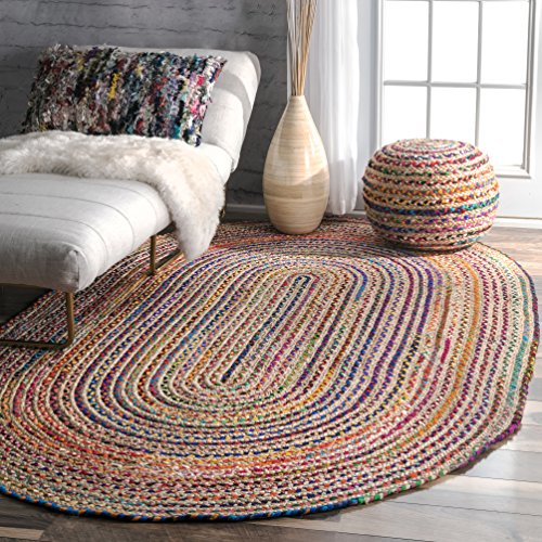 nuLOOM Aleen Braided Cotton Jute Rug, 5 x 8 Oval, Multi