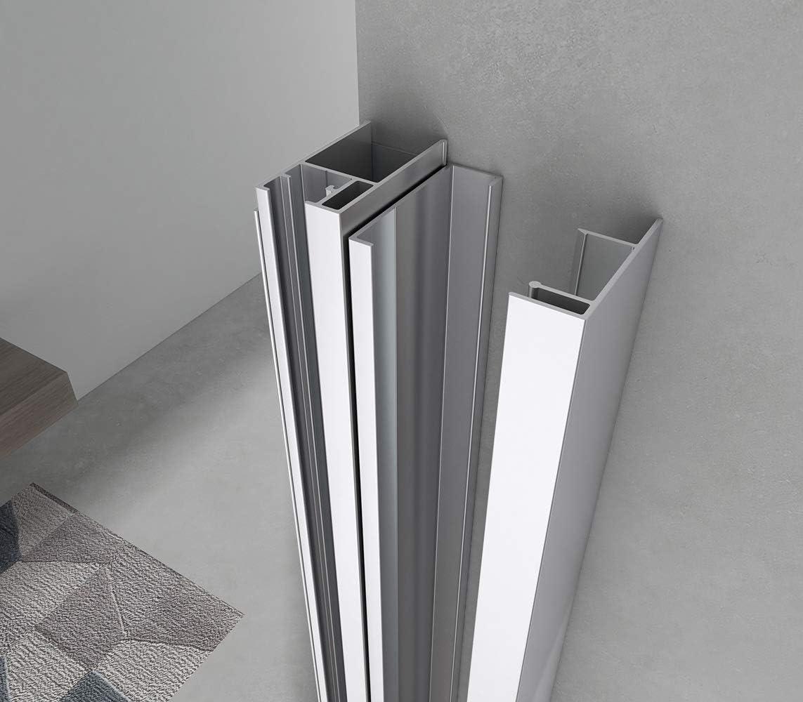 110 Yellowshop/-/Cabine de douche pour niche avec porte r/éversible coulissante en verre tremp/é de 6/mm transparent ou d/époli multicolore dimensions : 100 120 ou 130/cm