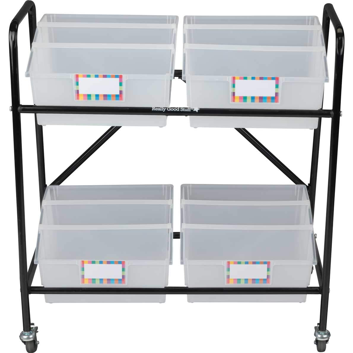 Really Good Stuff Mid Size Mobile Storage Rack with Picture Book Bins by Really Good Stuff