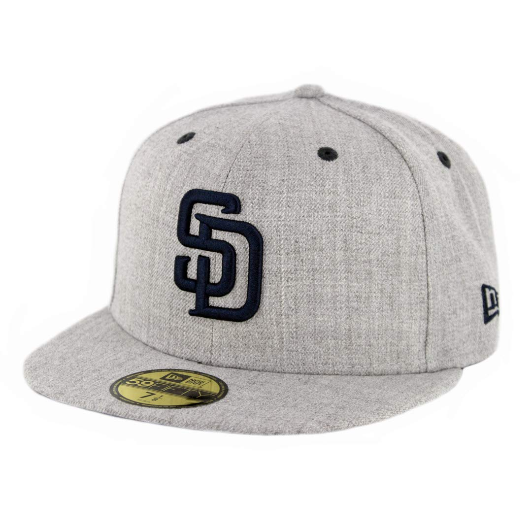 65b7ff77e New Era 5950 San Diego SD Padres Fitted Hat (Heather Grey/Dark Navy) Men's  Cap