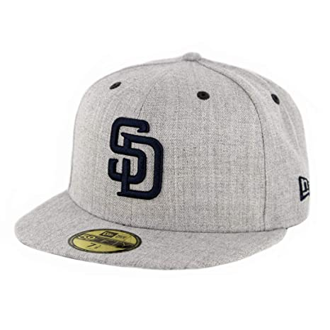 21f0a9ea63e68 Image Unavailable. Image not available for. Color  New Era 5950 San Diego  SD Padres Fitted Hat (Heather Grey Dark ...