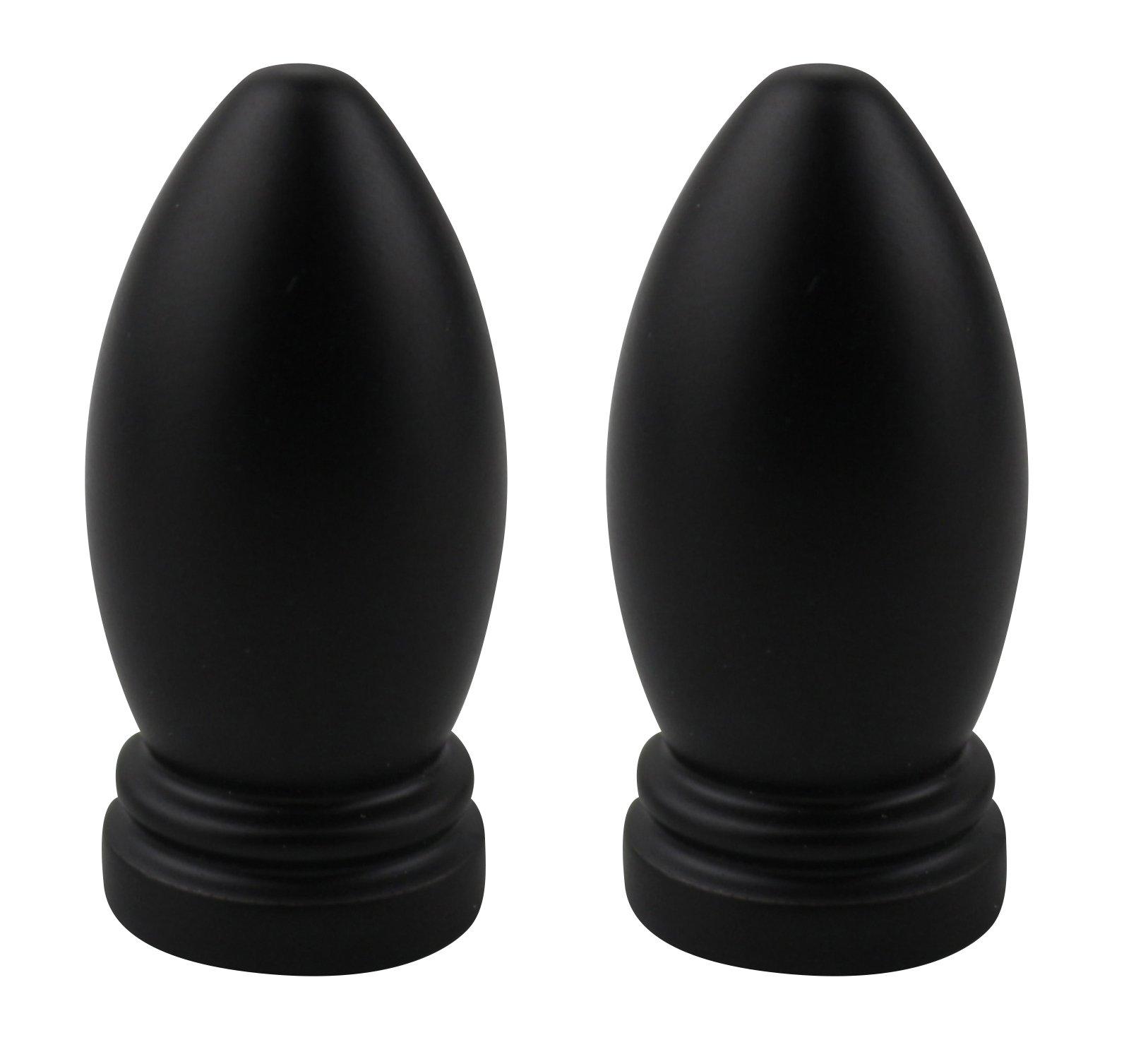 Urbanest Set of 2 Bolton Lamp Finial, 1 3/8-inch Tall, Black