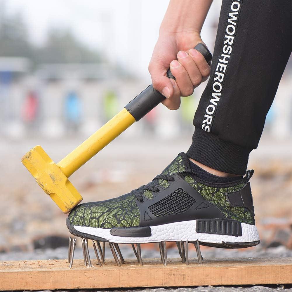 Gainow Scarpe da Lavoro Leggere Scarpe da Lavoro da Donna Scarpe da Ginnastica Traspiranti con Puntale in Acciaio