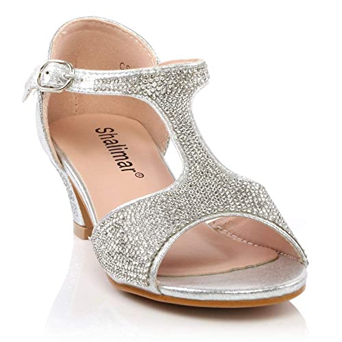 Diamante Glitter Party Bridesmaids Shoes Girls Kids Open Toe Sandals Low Heels