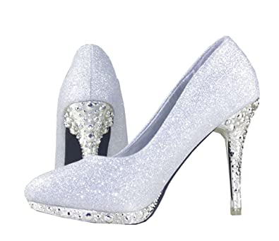 4276faeb52579 getmorebeauty Women s Silver Glitter Sequin Dress Wedding Shoes High Heel 5  B(M) US