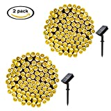 easyDecor 2 Pack Solar String Lights 200 LED Waterproof 72ft 8 Modes Solar Powered Christmas Fairy String Lights Outdoor Xmas Patio Party Lawn Garden Wedding Party Holiday Decoration (Warm White)