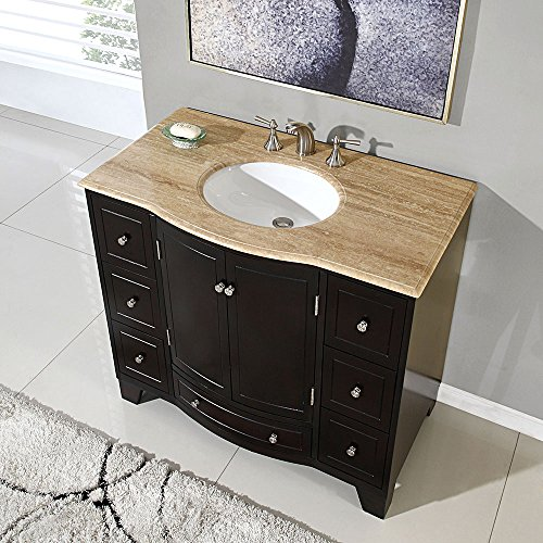Silkroad exclusive travertine stone single sink bathroom for Kitchen cabinets 40 inches high