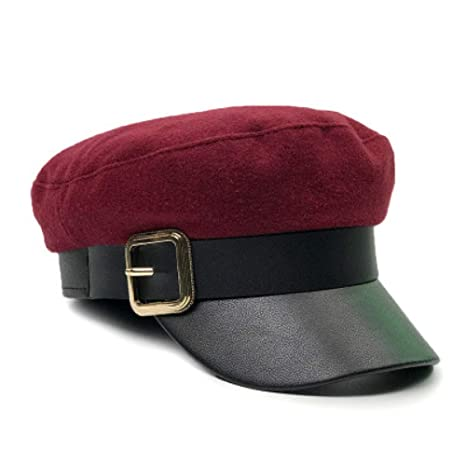 UVYANG Moda Mujer Negro Militar Sombreros Otoño Invierno PU Cuero ...