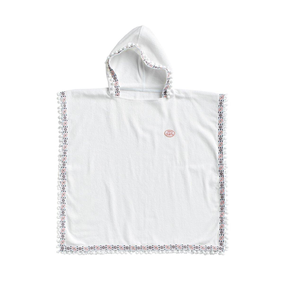 VeryBalmy Soft Anti-Bacteria Bamboo Kid's Pancho Bathrobe, Certified Oeko-Tex Standard 100 (Diamond Pattern Pompom)