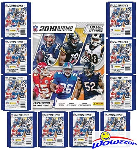 2020 Panini - 2019 Panini NFL Football Stickers Special Collectors Package with HUGE 72 Page Color Collectors Album, 60 Brand New MINT Stickers & 10 Cards! Look for Stickers of Top NFL Superstars & Rookies! WOWZZER