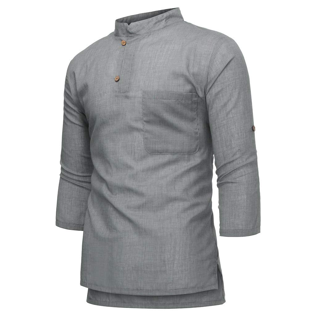 Males Summer V-Neck Blouse Top 3//4 Sleeve Button Casual Loose Shirts Mens Linen Cotton Short T Shirt