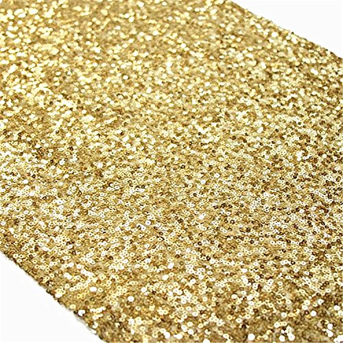 TRLYC Sequin Table Runner, 13 by 60-Inch Sequin Tablecloths, Gold (Gold Sequin)