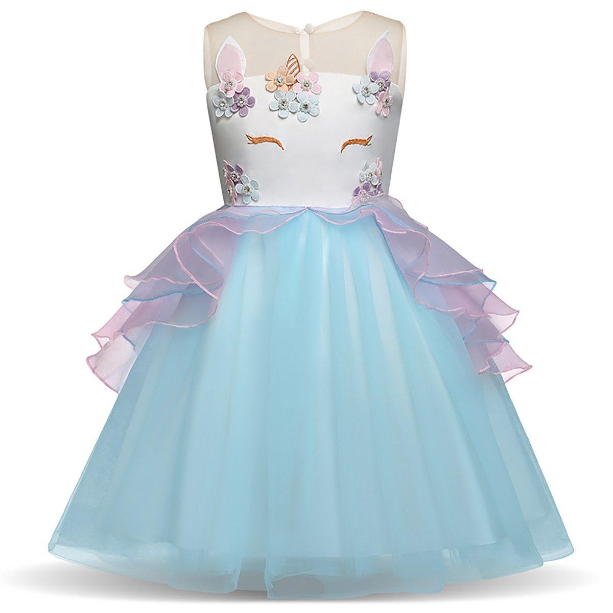 Little.Elf Unicorn Costume Dress Pageant Party Dresses Flower Evening Gowns