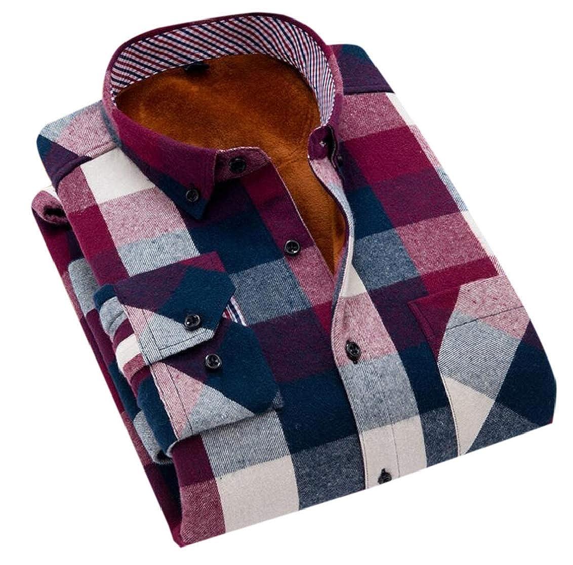Fubotevic Mens Cotton Plaid Print Warm Slim Long Sleeve Thicken Fleece Button Down Shirt