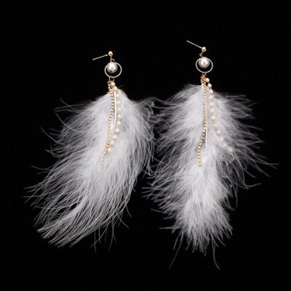 angel3292 Clearance Deals Vintage Feather Earrings Women Long Shiny Faux Pearl Chain Tassels Ear Dangle