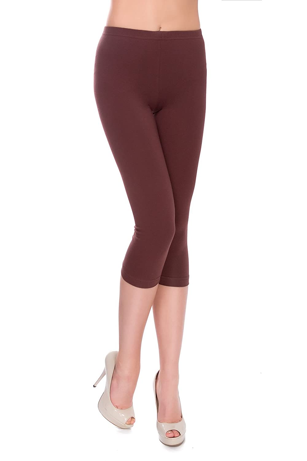 MITAAMI Cropped Leggings for Women 3/4 Length Trousers Plus Size 8-28 UK MIDL2