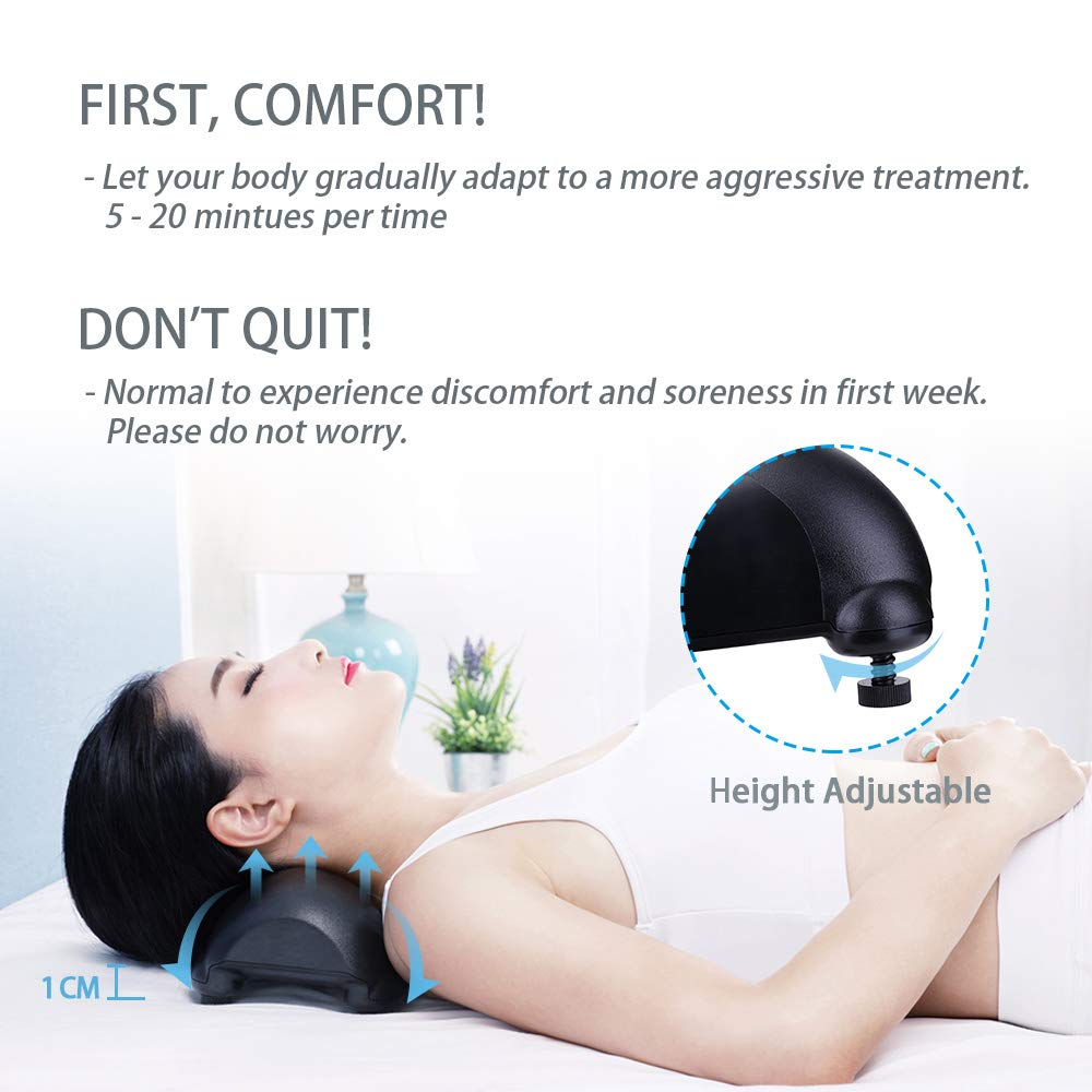 Conthou Cervical Neck Traction Device for Neck and Shoulder Pain Relief, Portable Cervical Orthotic Pillow- Adjustable Height with Removable and Washable Cover by Conthou (Image #6)