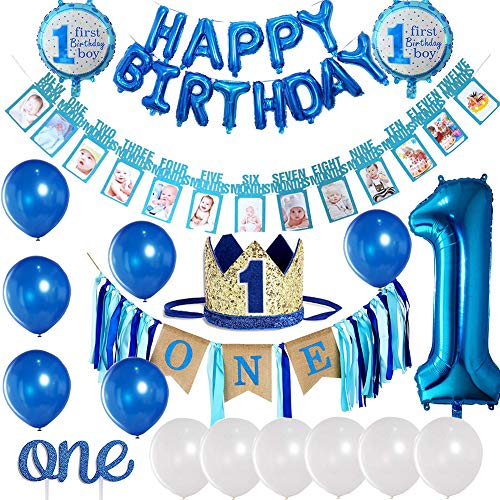 Baby Boy 1st Birthday Decorations and Photo Banner 1-12 Month, First Birthday Crown, Cake Topper ONE, Happy Birthday Balloons Banner, Number 1 Foil Balloon, Blue and White Balloons Party Decorations. ()