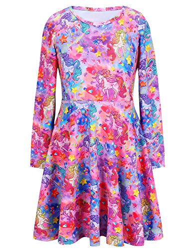 Jxstar Girls Dress Unicorn Fantasy Print Dress Long Sleeve Tshirt Dress Unicorn Fantasy 160 ()