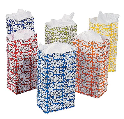 Lot of 12 Hawaiian Luau Island White Hibicus Paper Treat Party Bags