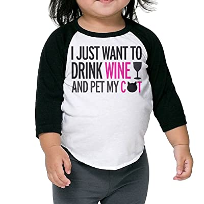 SH-rong I Just Want To Drink Wine And Pet My Cat Toddler Baseball Tee