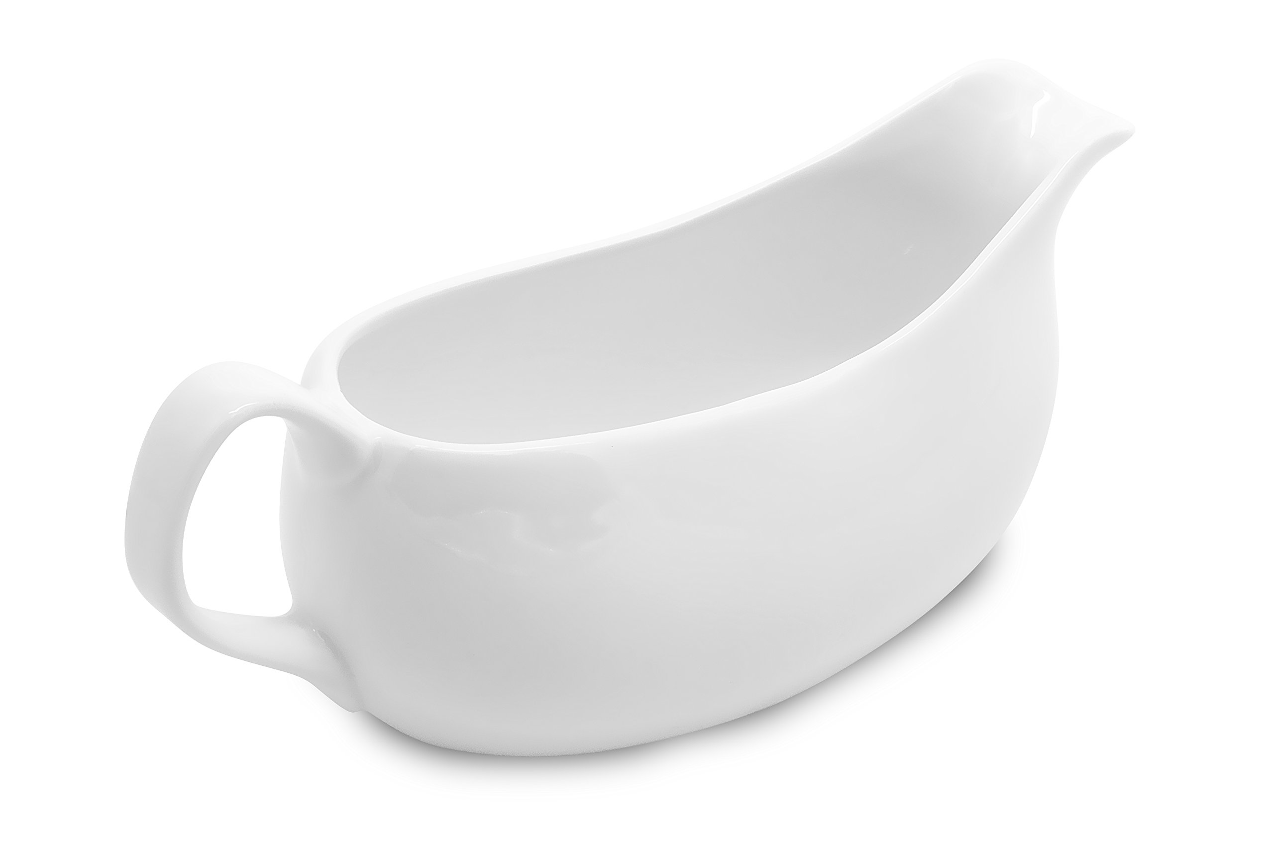 Nucookery Large 14 Oz Gravy Boat With Ergonomic Handle | White Fine Porcelain Saucier With Big Dripless Lip Spout | For Gravy, Warming Sauces, Salad Dressings, Milk, More | Microwave & Freezer Safe by Nucookery (Image #3)