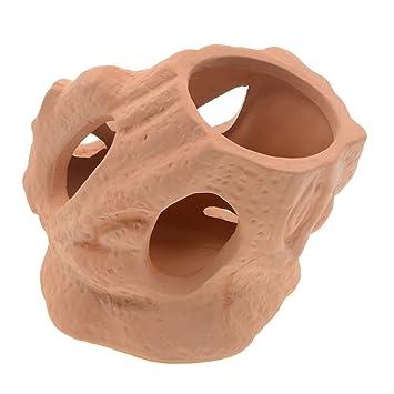 Saim - Adornos para acuario de cerámica con siete agujeros de madera para peceras, peceras