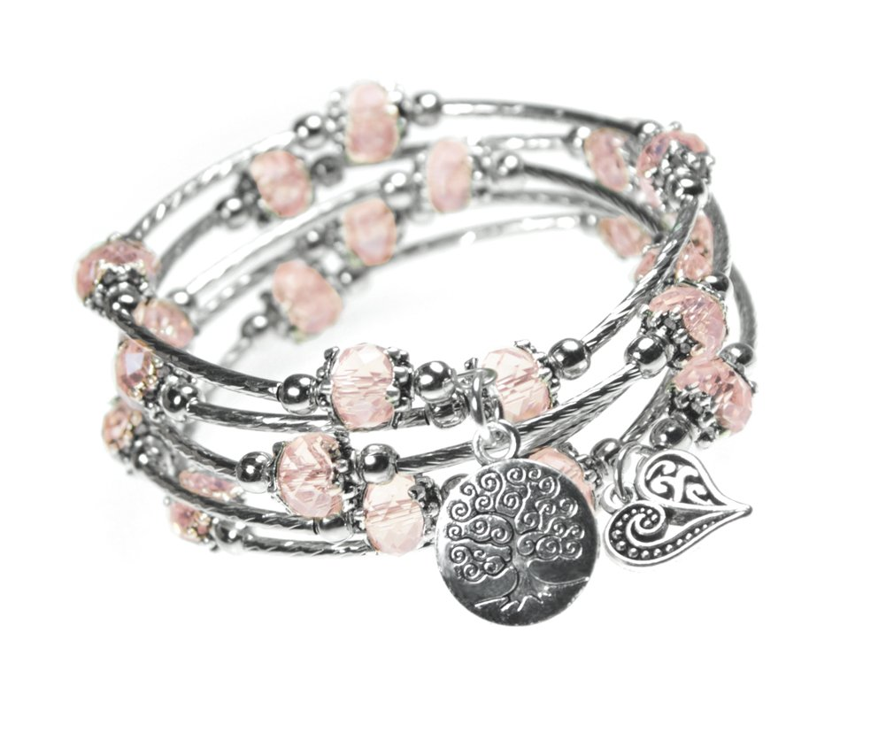 Tree of Life and Heart Charm Pink Bead 5x Wrap Silver-tone Bangle Bracelet