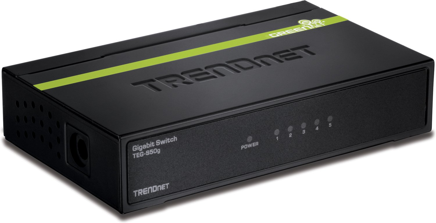 TRENDnet 5-Port Unmanaged Gigabit GREENnet Desktop Metal Housing Switch, 10 Gbps Switching Fabric, Lifetime Protection, TEG-S50g
