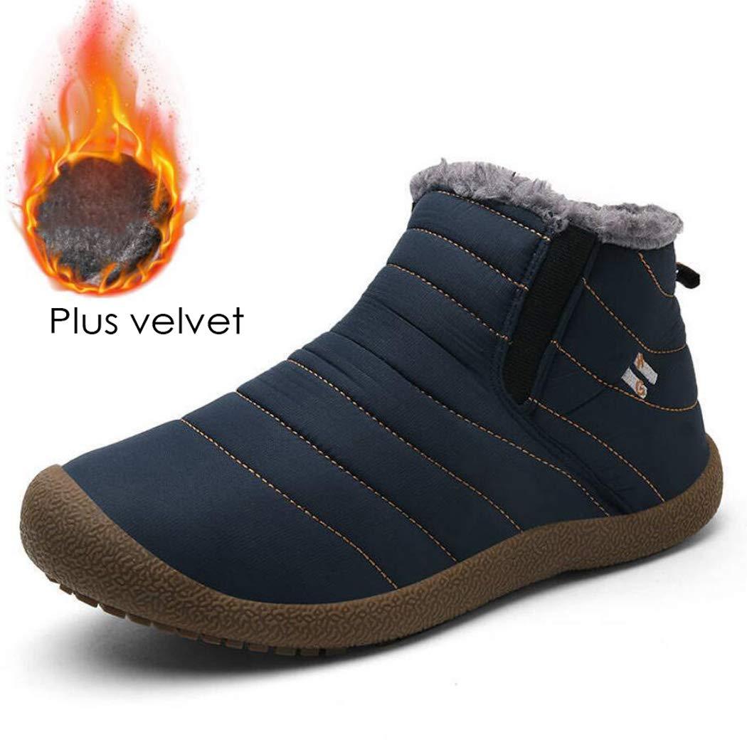 Zxcvb Männer Frauen Schnee Stiefel Baumwolle Schuhe voll Pelz gefüttert Wasserdichte Schnürung Winter warme Knöchel Turnschuhe
