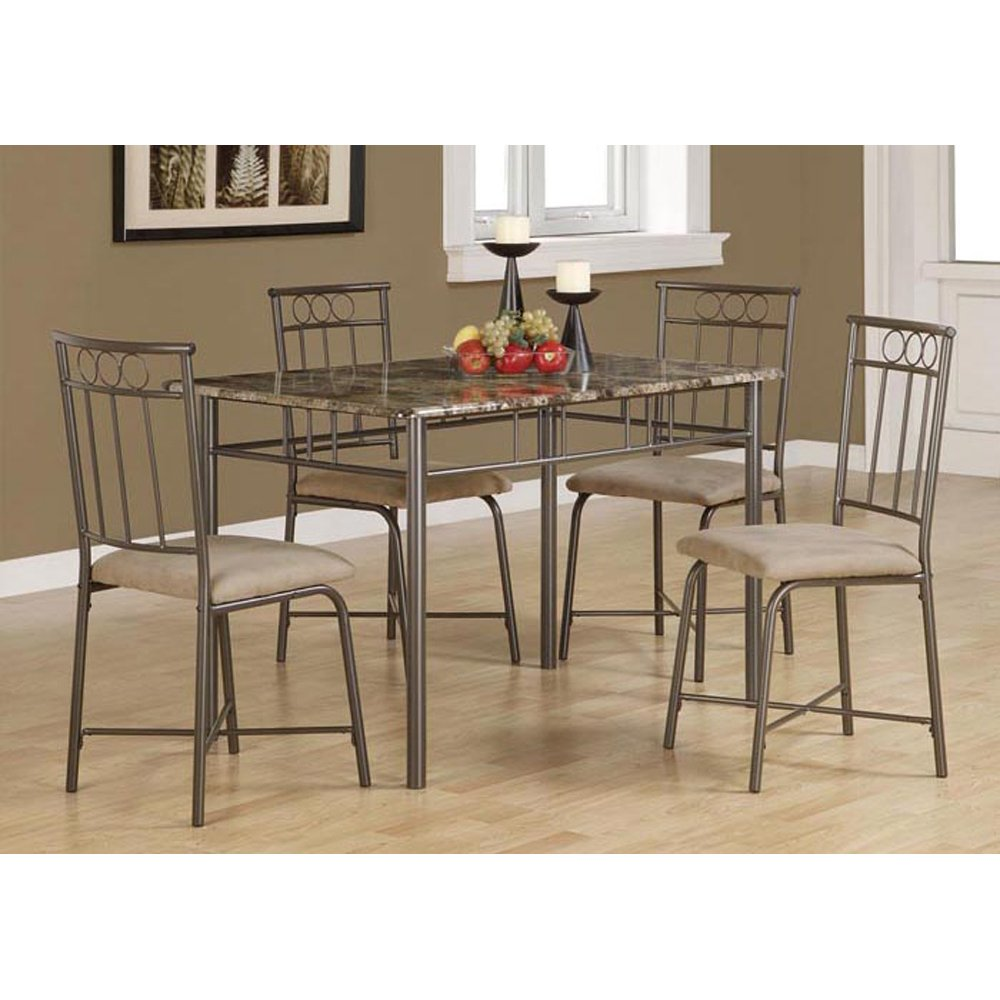 Amazon.com: Monarch Specialties Marble Look 5 Piece Metal Dining Set,  Cappuccino/Bronze: Kitchen U0026 Dining