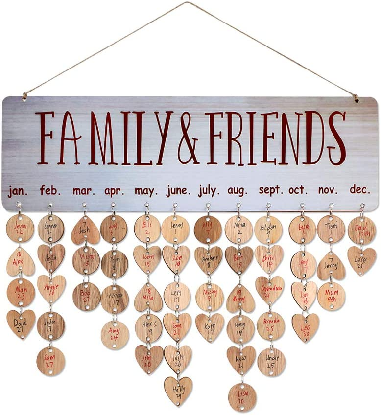 Joy-Leo Gifts for Moms Dads - Wooden Birthday Reminder Calendar Plaque for Family Friends Classroom [100 Wood Tags with Holes & 100 Jump Rings], Decorative Birthday Tracker Board Wall Hanging