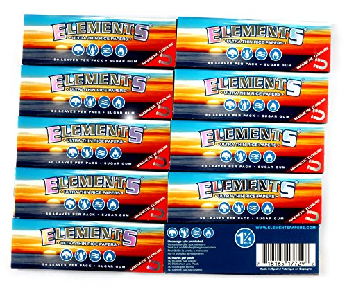 Elements 1.25 1 1/4 Size Ultra Thin Rice Rolling Paper With Magnetic Closure 10 Packs by Elements