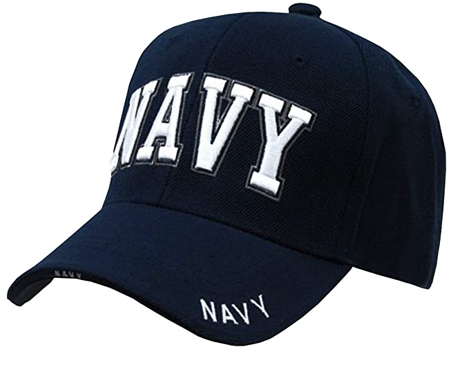Amazon.com  Rapid Dominance US Navy Text Embroidered High Crown ... 8b0a793f040