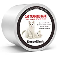 DanceWhale Anti-Scratch Cat Training Tape, 4 inches x 33 Yards Clear Double-Sided Cat Scratch Deterrent Tape - Furniture Protector for Couch, Carpet, Doors, Counter Tops
