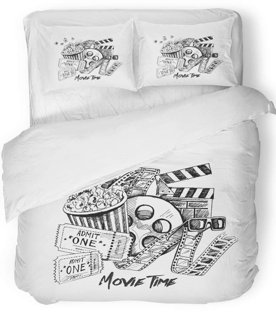 Emvency Bedsure Duvet Cover Set Closure Printed Decorative Cinema Movie Time Sketch Film Ticket Entertainment Strip Tape Appetizer Box Breathable Bedding Set With 2 Pillow Shams Twin Size