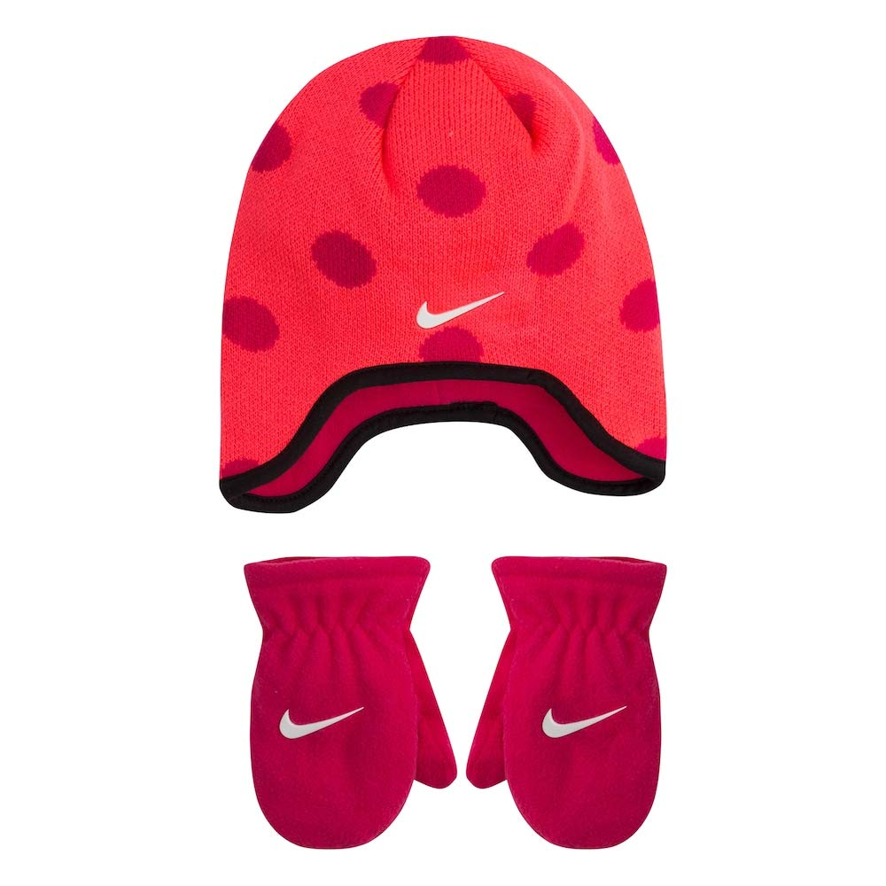 Nike Infant/Toddler 2 Piece Beanie & Mittens Set (Racer Pink(2A2711-A4F)/White, 2T-4T (Toddler))