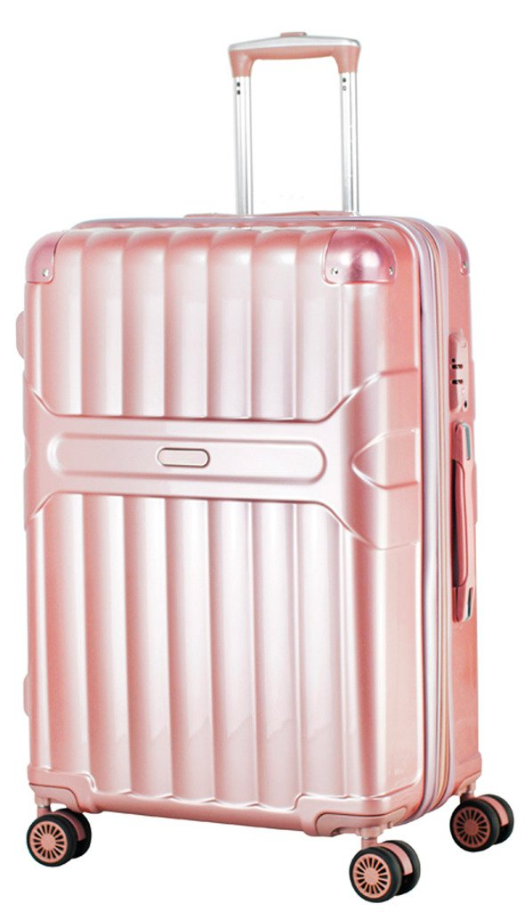 Ambassador Luggage Zip-Tech 20'' Carry On Luggage Expandable Spinner Suitcase Rose Gold