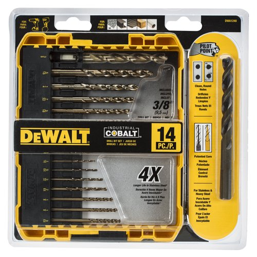 DEWALT DWA1240 Pilot Point Industrial Cobalt Drill Bit Set (14 Piece) - Cobalt Steel Metal
